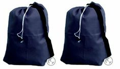 Laundry Bags with Straps Navy Blue Combo Set - Large 30x40 and Small 22x28 by Laundry Bag Store Online. $12.99. 210 Denier Fabric. Locking Bottle Closure. Double Stitched Seams. 1 Year Wear and Tear Warranty. Machine Washable. Our laundry bag combo set includes a large 30x40 Navy Blue laundry bag and a small 22x28 Navy Blue laundry bag with metal hanging grommets. Each bag includes a convenient black shoulder strap and a heavy duty nylon drawstring with a state of the art spri...