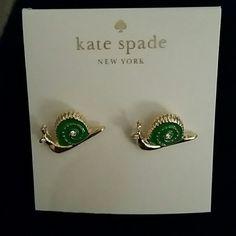 Kate spade snail earrings Brand new kate spade green and gold plated snail stud earrings. Cute! kate spade Jewelry Earrings