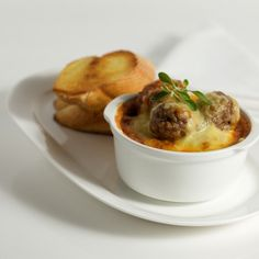 Herbed Pork Meatballs with Cheesy Topping  #PerfectItaliano
