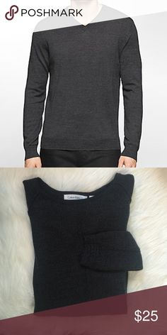 Like New Men's Calvin Klein Fine Wool Sweater! Only worn once. In excellent condition! Please note, the one for sale is crew neck, not v-neck. Other than that, exactly as first picture. Size medium. Any questions, please ask. No trades. Calvin Klein Sweaters Crewneck