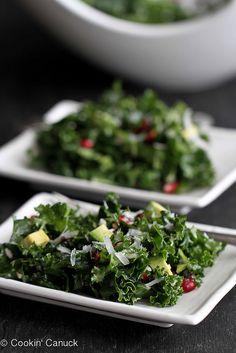 Chopped Kale Salad with Pomegranate & Avocado | cookincanuck.com #kale #recipe