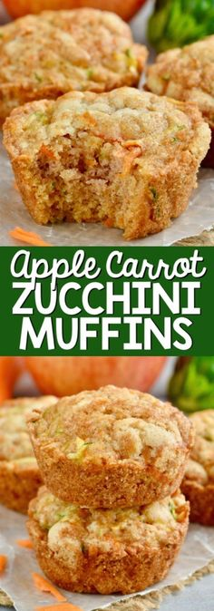 The most delicious Apple Carrot Zucchini Muffins with some sneaky vegetables on the side! The most delicious Apple Carrot Zucchini Muffins with some sneaky vegetables on the side! Muffins Zucchini, Zucchini Muffin Recipes, Healthy Muffins, Carrot Zucchini Bread, Vegetable Muffins, Shredded Zucchini Recipes, Zucchini Desserts, Zucchini Cupcakes, Vegetable Bake