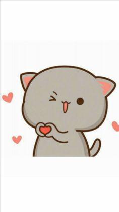 Cute Bear Drawings, Cute Cartoon Drawings, Kawaii Drawings, Cute Love Gif, Cute Love Pictures, Cute Kawaii Animals, Kawaii Cat, Chibi Cat, Cute Chibi