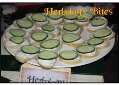 Harry Potter Herbology Bites Recipe Ingredients : Baguette, thinly sliced 1 package cream cheese 1 package ranch dressing mix 1 cucumber, t. Harry Potter Snacks, Baby Harry Potter, Harry Potter Halloween, Harry Potter Weekend, Harry Potter Motto Party, Harry Potter Thema, Harry Potter Baby Shower, Harry Potter Christmas, Harry Potter Wedding