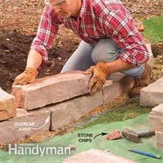 Raised Bed Border - (4) Lay the Second Row:  Stack the second row of stones onto the first, overlapping the joints.  Test several stones to find the most stable fit.