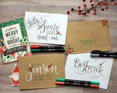 Hand Lettering Envelopes, Mail Art Envelopes, Addressing Envelopes, Envelope Art, Envelope Design, Xmas Cards, Holiday Cards, Christmas Envelopes, Diy Christmas Envelope