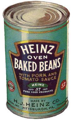 Vintage Heinz beans tin graphic