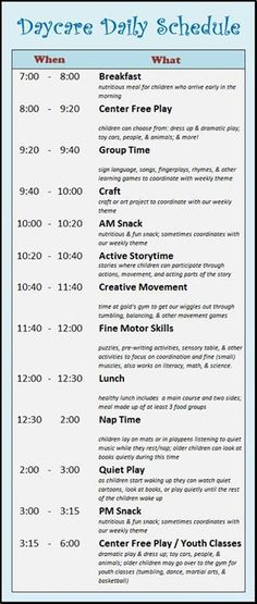I LOVE schedules and keeping the kiddos on something of the same thing every day I thought this daycare one was interesting even if you are an at home parent. - galveston.macaronikid.com