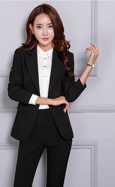 Women's Pant and Blazer Suit Simple Long Slim for Business - Business Attire Business Professional Women, Business Outfits Women, Business Casual Attire, Professional Attire, Business Women, Corporate Attire, Business Suits, Business Formal, Business Fashion