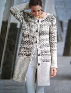 How to Knit a Needle Jacket - Everything About Knitting Crochet Coat, Knitted Coat, Crochet Jacket, Knit Jacket, Crochet Cardigan, Crochet Clothes, Sweater Coats, Long Sweaters, Knitting Designs