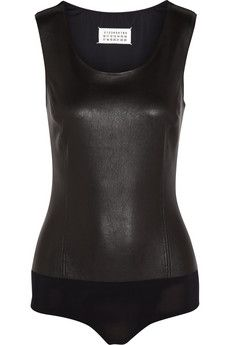 Maison Margiela Nappa leather and stretch-jersey bodysuit | NET-A-PORTER
