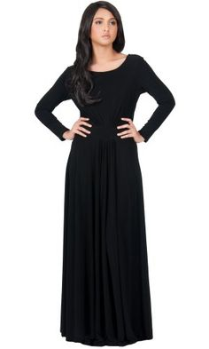 481958bc9f8 KOH KOH Womens Long Sleeve Flowy Empire Waist Fall Winter Party Gown Maxi  Dress Color Black