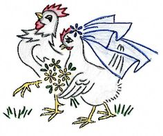 Kate Marchbanks 2106 Barnyard Romance - Chickens in Love for kitchen Towels. No transfer pen or pencil is needed. Reproduction iron on Embroidery Transfer. Here we have reproduction iron on embroidery transfers. Hungarian Embroidery, Iron On Embroidery, Embroidery Sampler, Embroidery Transfers, Embroidery Patterns Free, Learn Embroidery, Hand Embroidery Designs, Vintage Embroidery, Embroidery Stitches