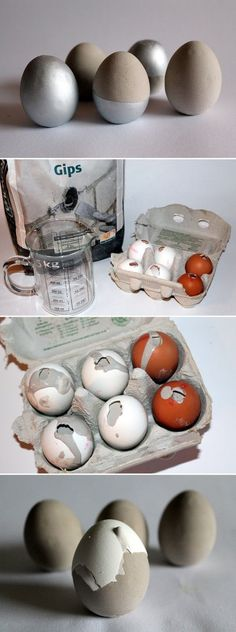 DIY Plaster / Concrete Eggs + Instructions: DIY, crafts, do it yourself, easter eggs, Easter eggs … – Basteln – Geschenkideen Diy Home Crafts, Crafts To Sell, Crafts For Kids, Sell Diy, Decor Crafts, Cricut Projects To Sell, Diy Projects, Project Ideas, Diy Para A Casa