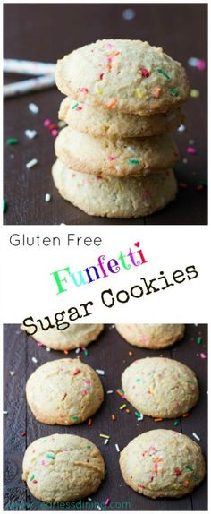 Gluten Free Funfetti Sugar Cookies are not just for kids! These melt in your mouth sugar cookies are so easy to make. Found at http://www.fearlessdining.com
