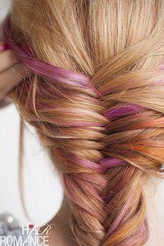 Hair Romance - pink hair in a fishtail braid