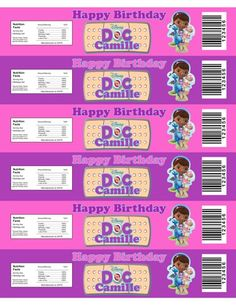 Personalized Doc McStuffins water bottle labels that can also be used to wrap bubble bottles.