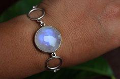 Regenbogen Mondstein Armband 925er Silber Armband von Studio1980