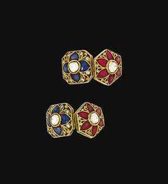 A pair of modern Indian diamond and enamel cufflinks