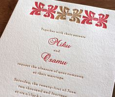 "Miku is stunning in letterpress with a two-color motif. The ""sash"" design will look beautiful in your wedding colors."