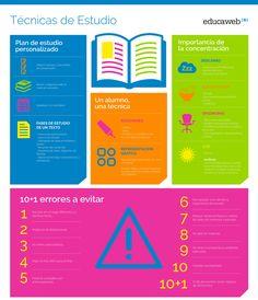 Infografía sobre las Técnicas de Estudio. Esta infografía explica algunas recomendaciones útiles para realizar un mejor estudio, como la importancia de la concentración en el estudio, errores comunes que deben evitarse, entre otras. Aplica los mapas mentales en tu estudio para memorizar mejor cualquier información: http://tugimnasiacerebral.com/mapas-conceptuales-y-mentales/que-es-un-mapa-mental-caracteristicas-y-como-hacerlos #mapas #mentales #estudio