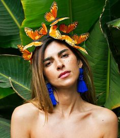 Boho Headpiece, Flower Headpiece, Headdress, Orange Butterfly, Butterfly Hair, Butterfly Costume, The Journey, Dust Collection, Feather Hair Pieces