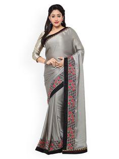 Designer Sarees Wedding, Saree Wedding, Grey Saree, Party Wear Sarees, Cotton Saree, Sarees Online, Sari, How To Wear, Stuff To Buy