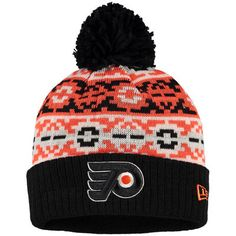 5039b424f New Era Philadelphia Flyers Black Retro Chill Cuffed Knit Hat With Pom
