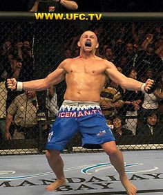 Chuck Liddell with his widely recognied post-victory celebration