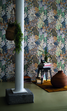 Borromee Wallpaper by Casamance Kitchen Wallpaper, Wallpaper Decor, Casamance, Mountain Wallpaper, Botanical Wallpaper, Color Psychology, Wall Treatments, Home Living Room