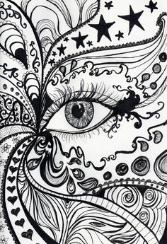 A4 print of original pen and ink drawing. Abstract eye design