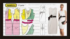 Modelagem de vestido com drapeado em cascata da marca Paule Ka. ModelistA: VESTIDO COWL