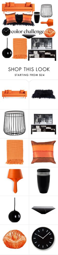 """""""Living in the Orange and Black scenary 📙⬛"""" by adriana-guga ❤ liked on Polyvore featuring interior, interiors, interior design, home, home decor, interior decorating, Blu Dot, Pols Potten, Old Hickory Tannery and Surya"""