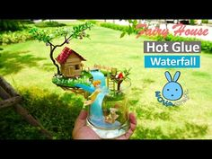 DIY Hot Glue Waterfall Tinkerbell Fairy Doll House garden in Cup How to make DIY Crafts - YouTube