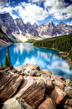 Magnificent Nature ~ Moraine Lake is a glacially-fed lake, Banff National Park - near Vancouver, Canada