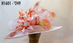 Blush Calla Lily Kentucky Derby Hat crinoline, peacock, light pink502-896-6755