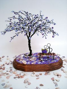 Blossom In Purple - Wedding Centerpiece, Anniversary, Engagement, Bridal Shower, Cake Topper, Valentine's gift on Etsy, $69.00
