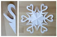 paper projects A tutorial on how to make six-sided paper snowflakes. Use them to add some beauty to your holiday decor! Lots of easy paper snowflake designs included. Paper Snowflake Designs, Snowflake Craft, Snowflake Decorations, Christmas Decorations, Snowflake Outline, Snowflake Template, Valentine Decorations, Diy Christmas Fireplace, Diy Christmas Snowflakes