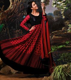 #Red & #Black #Net Brasso #Anarkali #Suit With Chiffon Dupatta by #Jinaam at #Indianroots #Diwali #Sale Was $226 | Is $91