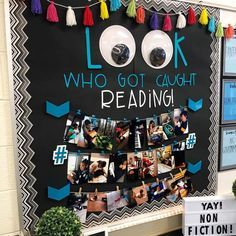 """""""We ❤️ this idea of parents catching their children reading and sending it to the teacher! Such a great inspiration!"""" - Awesome Teacher T-Shirts FYI… You can get those big googly eyes at Michaels. Reading Bulletin Boards, Classroom Bulletin Boards, School Classroom, Classroom Themes, Classroom Organization, Book Corner Classroom, Future Classroom, Reading Corner School, Kindergarten Reading Corner"""