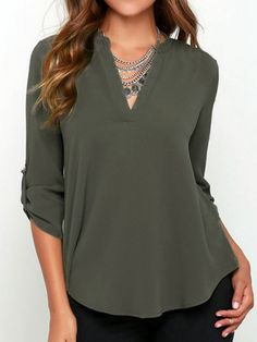 ecb22a66ab74f Shop Army Green V Neck Long Sleeve Loose Blouse online. SheIn offers Army  Green V