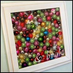 Christmas Wall Decor - Shadow Box full of glass ornaments. Love