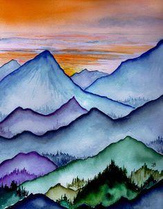 mountain snow scenes kids paint - Google Search