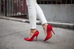 Red pumps, white J BRAND Leather. #TuulaVintage