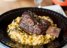 Pumpkin Beer Risotto with Coffee and Chocolate Glazed Short Ribs