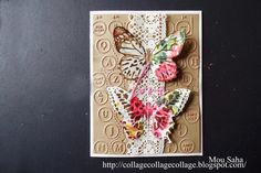 Craeted by Mou Saha using Tim Holtz Butterfly Duo die & Texture Fades, Handwritten Love Thinlits and Typwriter & Keyboard embossing folders for Sizzix