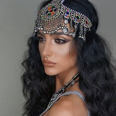 """ladiesofparadise: """"⇝ Our Afghan tribal headdress on @ash_kholm is e v e r y thing! ⇜ Just got tons of new styles/colors ♥ make up done herself and hair by the wonderful @jour_hair. ⇜ Love this babe..."""