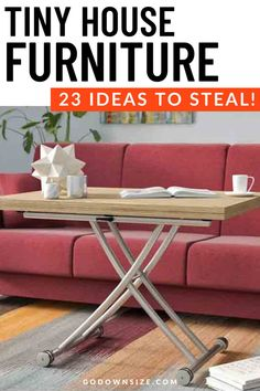 We have gathered some of the best pieces of furniture for small tiny houses to help you design your space. We've got great inspiration for small apartments, cabins, RVs, and more. We've even included as many DIY projects as possible because we know tiny house folks love DIY as much as we do. Check it out! Folding Coffee Table, Coffee Table To Dining Table, Extendable Coffee Table, Coffee Table Wayfair, Cool Coffee Tables, Coffee Table With Storage, Round Coffee Table, Dining Room, Tiny House Furniture