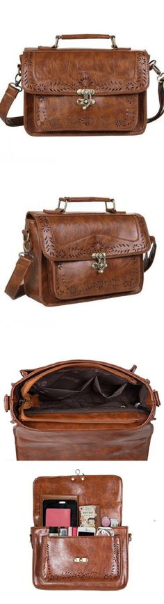 Women Handbags and Purses: New Ecosusi Fashion Women Designer Vintage Leather Satchel Messenger Bag Handbag BUY IT NOW ONLY: $37.4