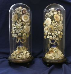 "Victorian Domed Sailor's Floral Sea Shell Valentines. Circa 1870. 19-1/2"" x 7""."